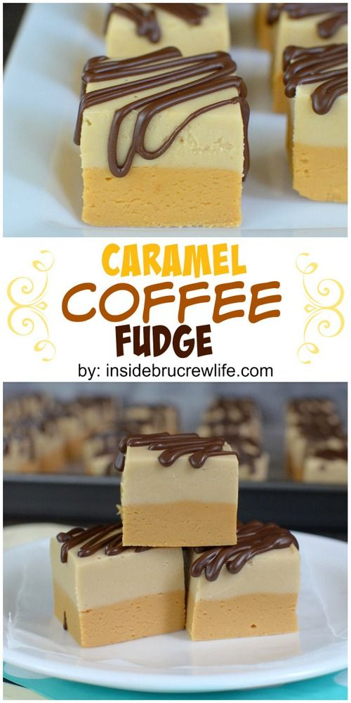 Layers of caramel fudge, coffee fudge, and chocolate drizzles makes this fudge irresistible!