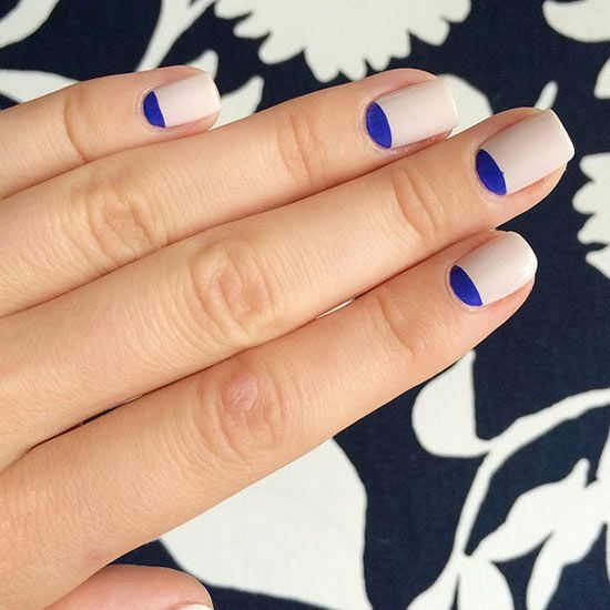 Looking for the perfect home manicure idea? Try this twist on the classic! http://www.bhg.com/beauty-fashion/nails/nail-art-for-adults/?socsrc=bhgpin010515colorblockhalfmoon&page=4