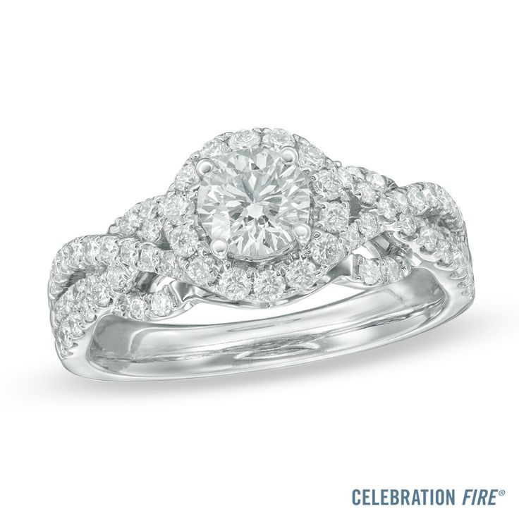 Celebration Fire® 1-1/4 CT. T.W. Diamond Frame Engagement Ring in 14K White Gold