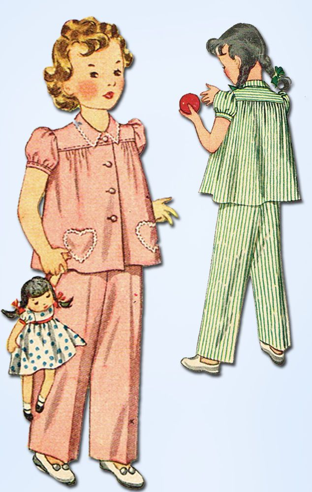 1940s Vintage Simplicity Sewing Pattern 2054 Easy Toddler Girls Pajamas Size 4 #Simplicity #Pajamas