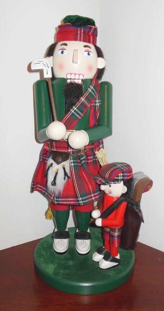 "Scottish Golfer Nutcracker 15"" with Caddy Tartan Material"