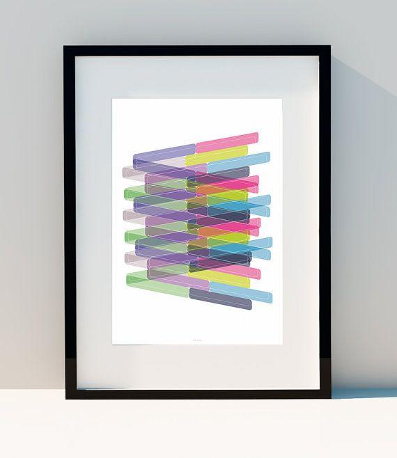 """Art Géométrique """"Perspective & Jeu de Couleurs"""", Affiche décorative pour votre intérieur en impression Numérique aux formats A2, A3 ou A4"""