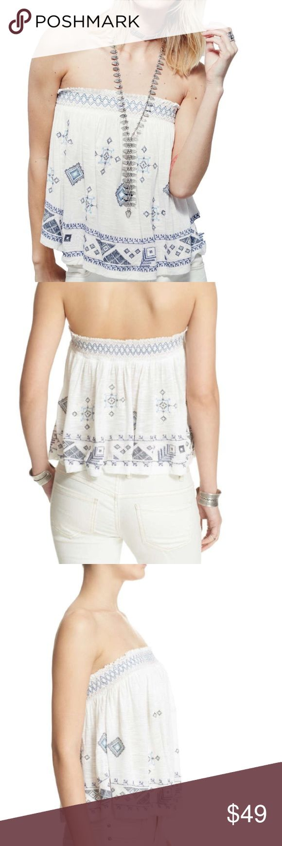 You got it bad strapless top by Free People flash sale💗💕💜This top is true to size. The large fits me as a 12 and would fit a 14. Extremely soft lining over the chest in a soft tricot fabric. The embroidery is soft as well and so pretty. This is a great top with denim shorts and sandals to throw in your weekend getaway bag💜💕🌈. No trades. Free People Tops