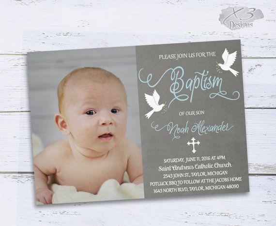 Baptism Invitations, Printable Boy Baptism Invitations, Christening Invitation, Photo Baptism Invites, Baby Boy Baptism Invite by X3designs