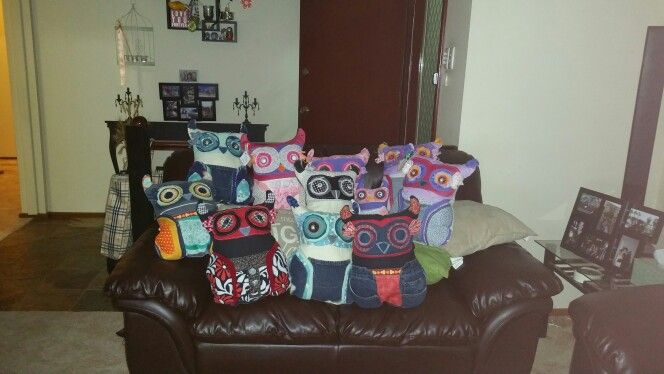 Scrappy owls. Handmade from recycled materials.  Contact for further information  kirstie_lafferty@hotmail.com