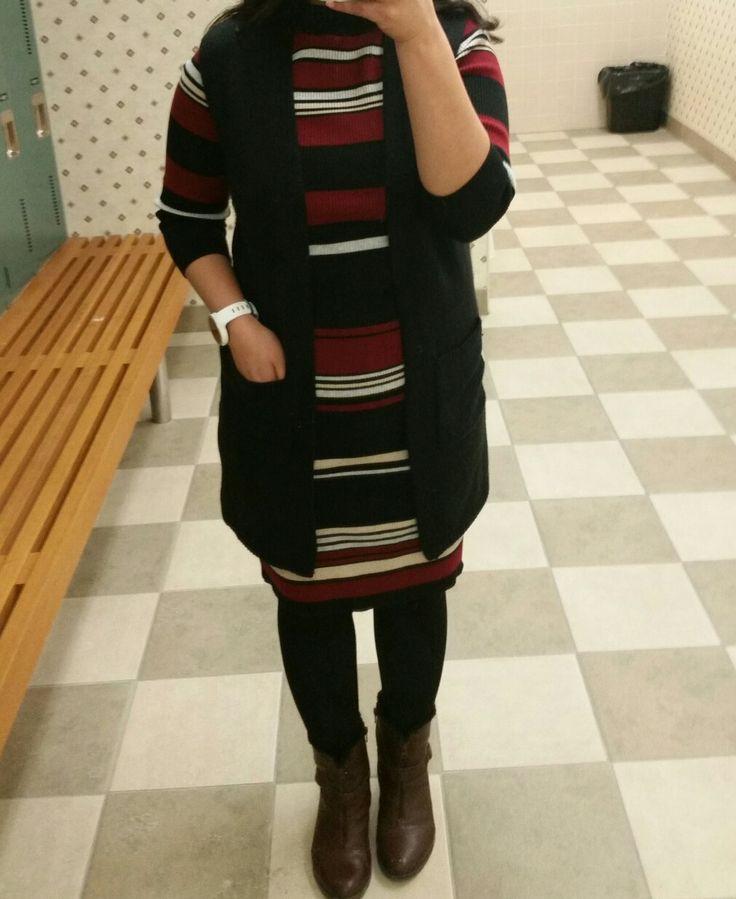 Sweater dress , black vest , ankle boots #vest