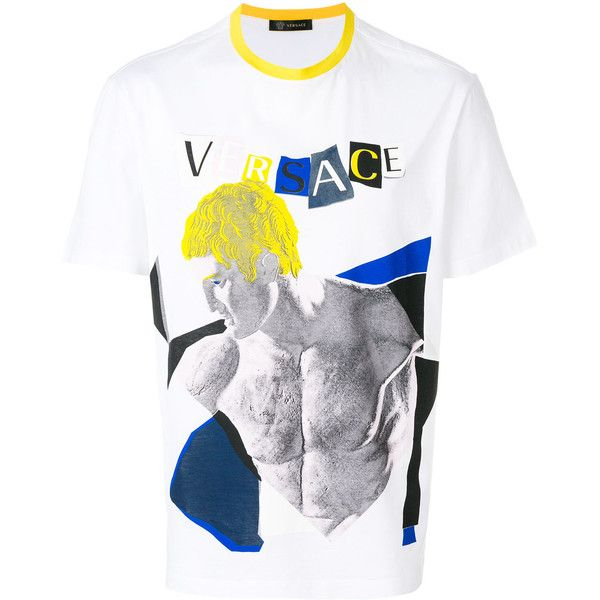 Versace graphic statue print T-shirt ($387) ❤ liked on Polyvore featuring men's fashion, men's clothing, men's shirts, men's t-shirts, white, versace mens t shirt, mens multi coloured shirts, colorful mens dress shirts, mens cotton t shirts and mens white t shirts