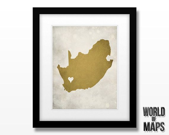 South Africa Map Print Home Town Love by WORLDofMAPS on Etsy, $18.00