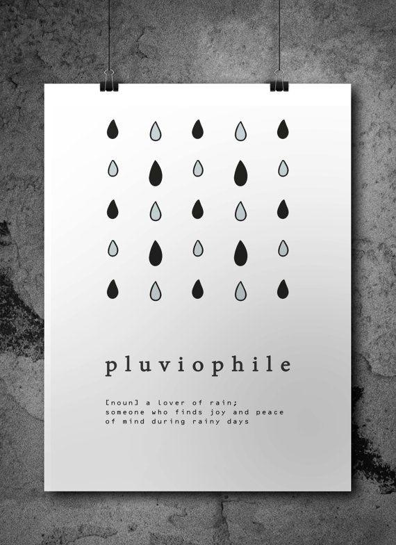Pluviophile Poster/ Rain Lover Digital Print / di AYAKAstudio