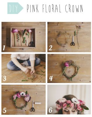 DIY: Pink Floral Crown First, choose colorful (shades of pink) flowers that you cut to obtain stems of 5 cm. Take two green plastic stems and form a ring by taping it with green or transparent tape. Form small bunch of four or five flowers and tape it all along the ring formed by the two plastic stems. Finally, you made ​​a magnificent flower crown.  #DIY #floralcrown #flowers #inspiration #hair #roses