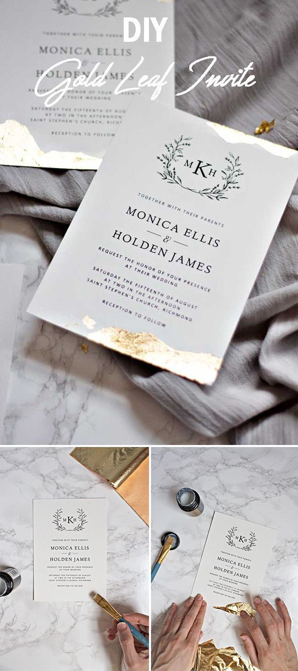 how to make your own printable wedding invitations%0A Easy to make gold leaf wedding invitation card  weddinginvitation