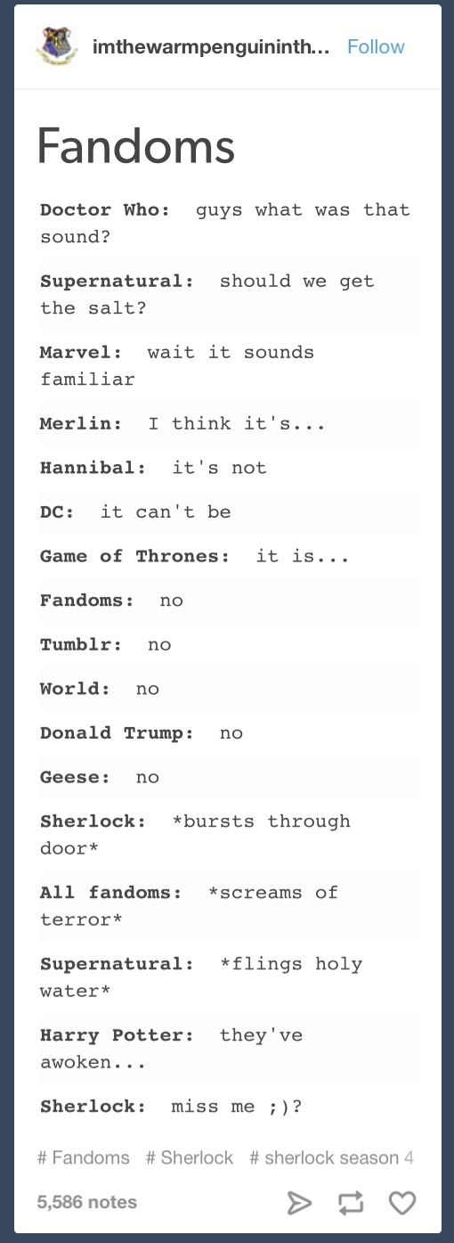 Yesssss. though i'm only in two (three ish) of these fandoms this is amazing