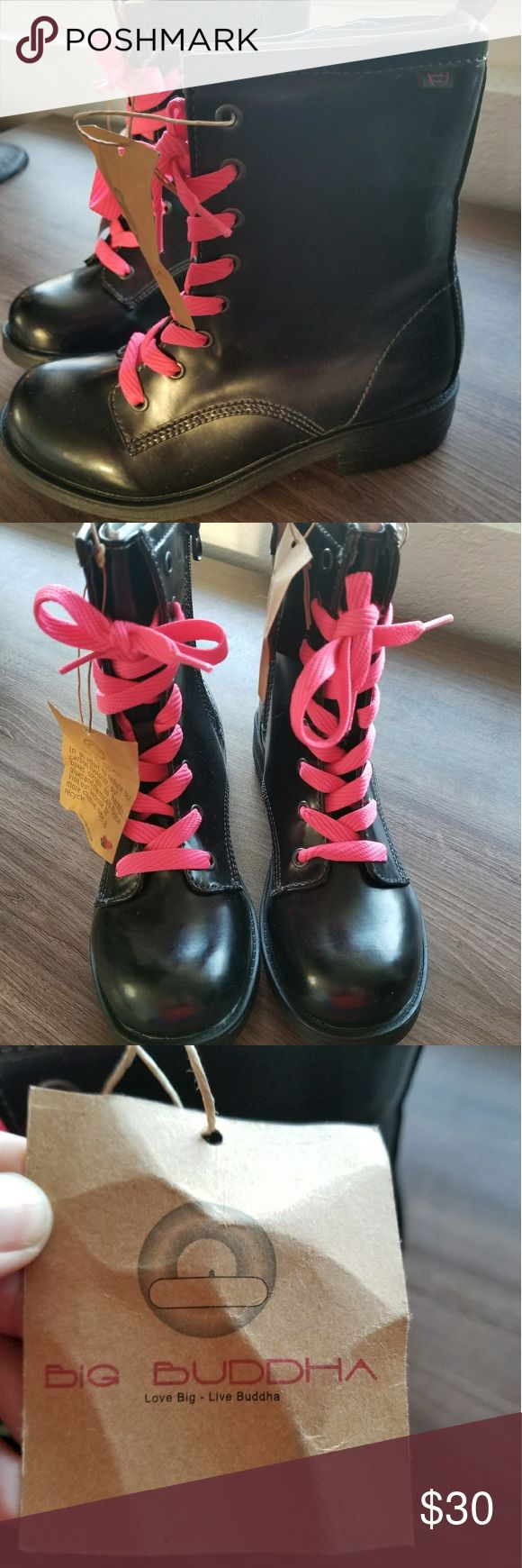 Black Combat Boots Black short boots Comes with original black shoe laces  Never worn, new with tags Size 7 Big Buddha Shoes Combat & Moto Boots