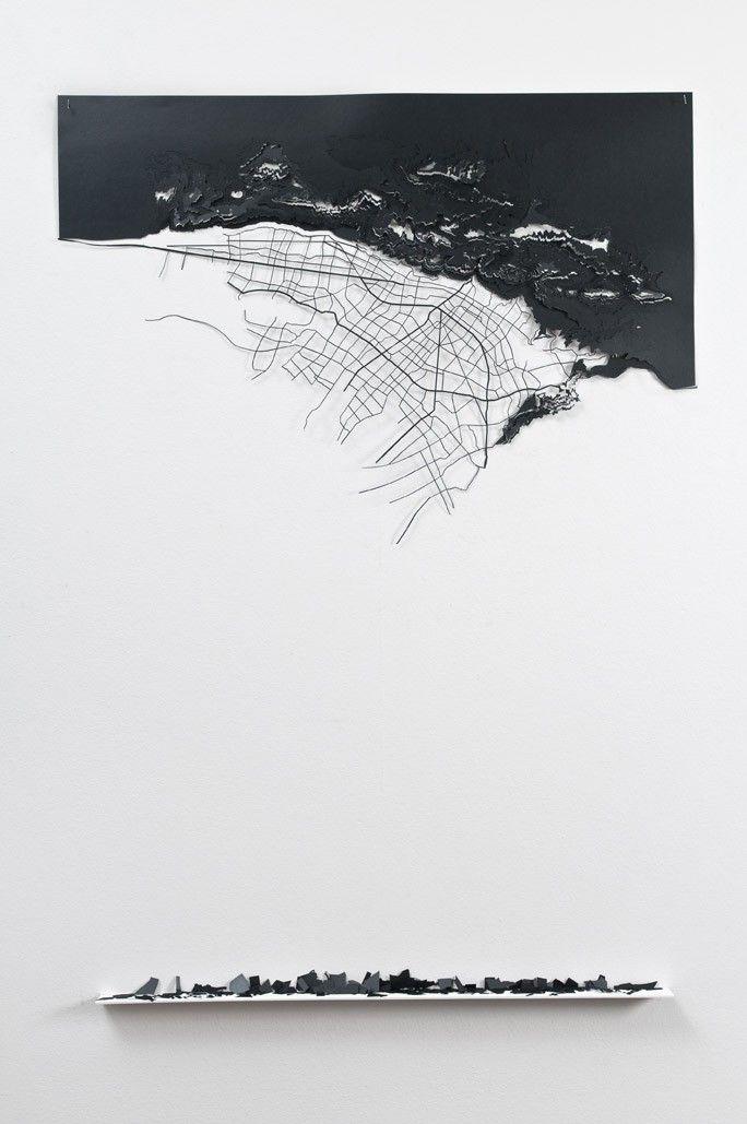 lafilleblanc:Leyla Cárdenas/mapa deshecho, 2011 / corte láser sobre papel onix