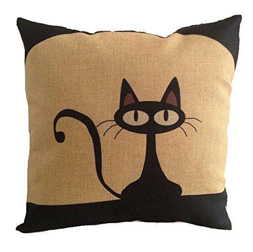 Black Linen Throw Pillows : Acala 18 X 18 Inch Cotton Linen Decorative Throw Pillow Cover Cushion Case, Cartoon Black Cat (E ...