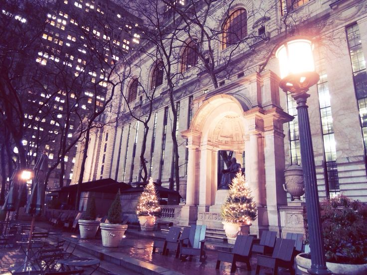 BRYANT park at night.