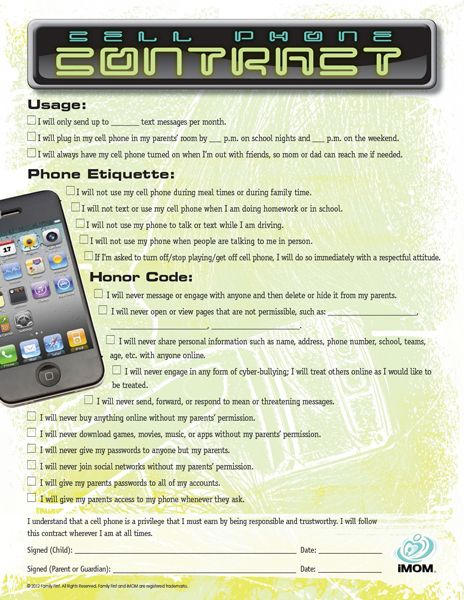 cell phone contract between parents and kids. also on this site are contracts for internet use, driving, etc... Great Idea. Thanks iMom