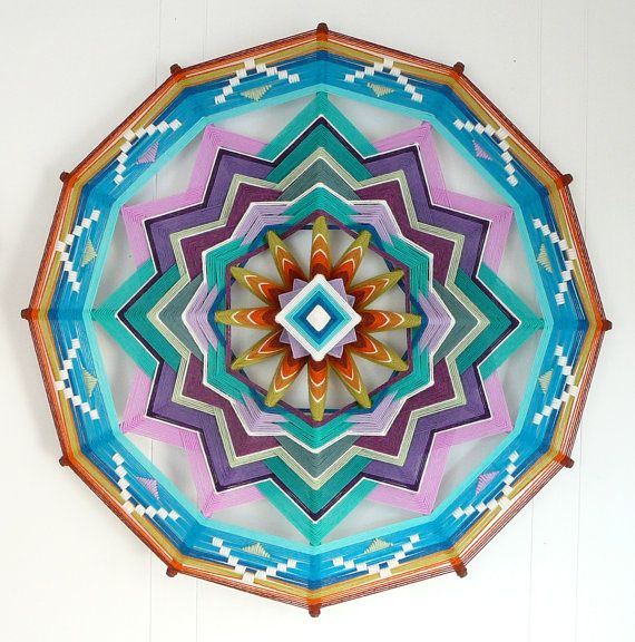 Purple Mountains, a 24 inch, 12 sided Ojo de Dios mandala, by custom order