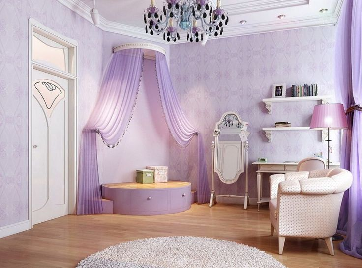 Kids Bed Rooms, Awesome Purple Princess Bedroom With Corner Stage Decoration With Drawers And Curtain Plus Luxury Abstract Wallpapers Vintage Study Desk Wall Shelves And Mirror Plus Wood Floor And Round White Rug: Beautiful Vibrant and Happy Custom Princess Bedroom Designs