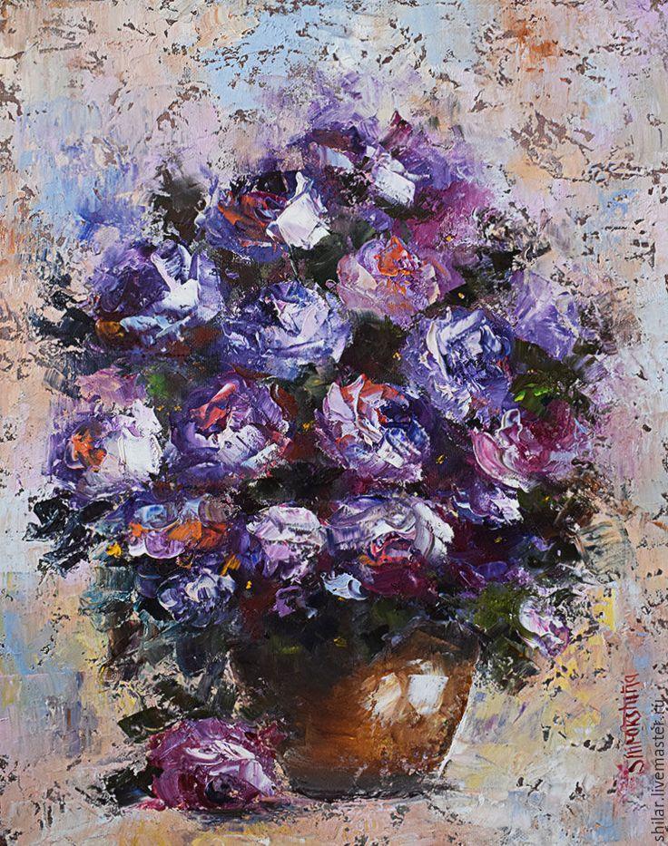 """Купить """" Фиолетовые розы"""" картина маслом - фиолетовый, розы, цветочный горшок, светлый фон"""