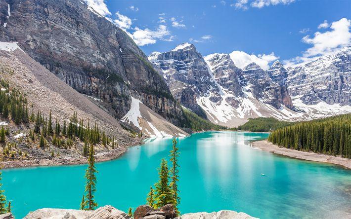 Download wallpapers Moraine lake, 4k, summer, Banff National Park, mountains, Canadian Rockies, Alberta, Canada