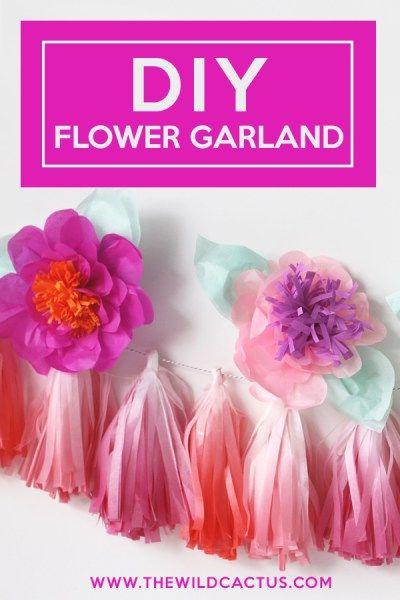 DIY FLOWER & FRINGE TISSUE GARLAND | THE WILD CACTUS