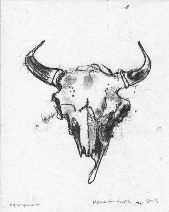 Buffalo Skull Monotype Original Art on Paper 8 x by MariahScee, $30.00
