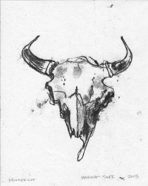 Buffalo Skull Monotype  Original Art on Paper  8 x by MariahScee, $30.00
