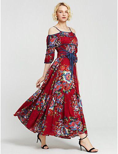 Women's Daily Sexy Boho Chinoiserie Swing Dress,Print Asymmetrical Maxi Short Sleeves Cotton Summer High Rise Micro-elastic Medium