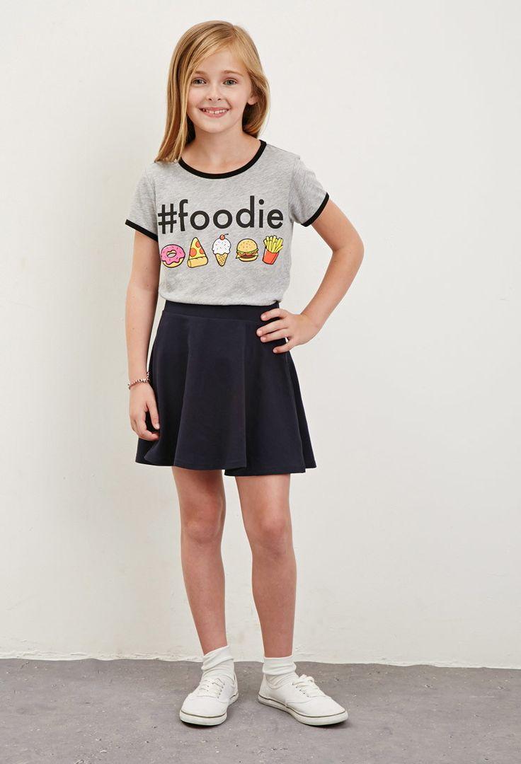 Hashtag Foodie Ringer Tee (Kids) | Forever 21 girls - 2000173626
