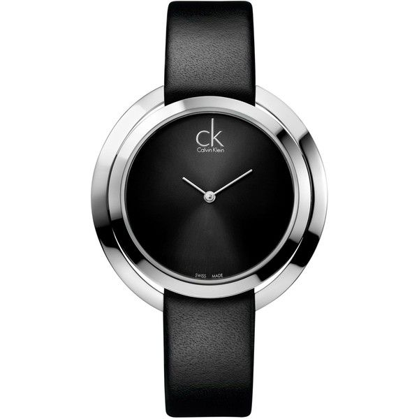 ck Calvin Klein Women's Swiss Aggregate Black Leather Strap Watch 42mm K3U231C1