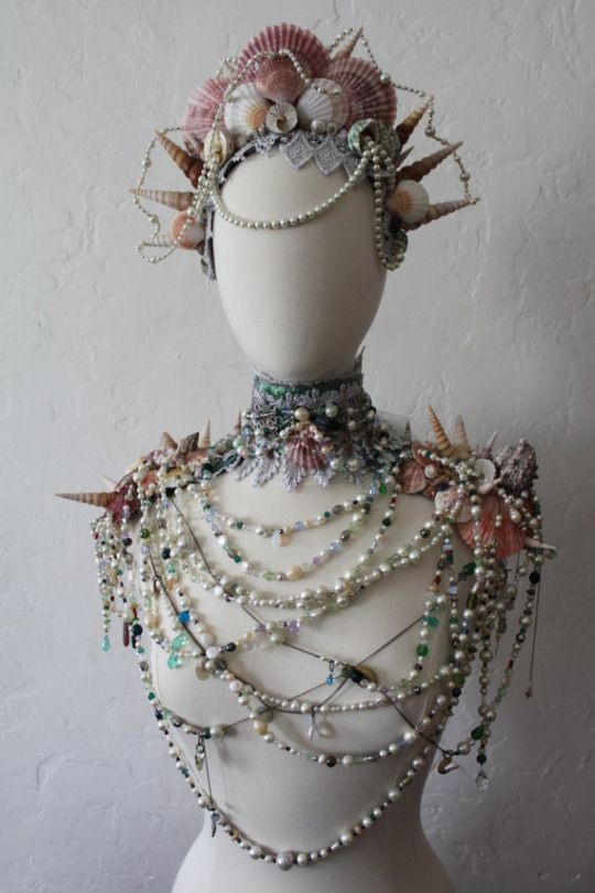 Siren's Treasure - OOAK Vintage Shell, Pearl, Lace, Crystal, Sea Glass and Bijou Statement Collar by Mascherina