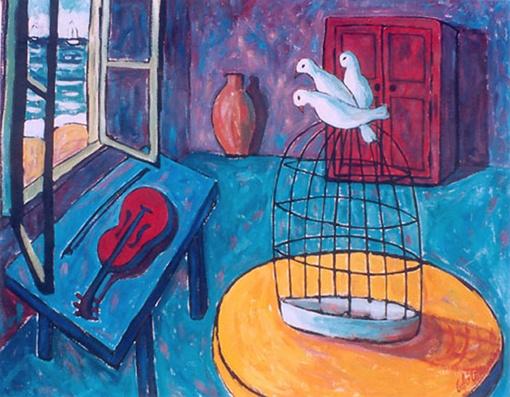 Les pigeons de matisse acrylique sur toile  42po. x 52po.