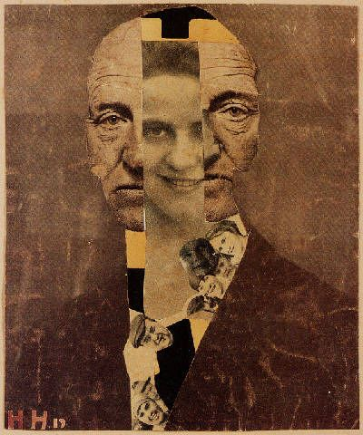 Hannah Höch. Portrait Gerhard Hauptmann. 1919. Brush and Ink w/photo collage on paper laid on card. 7.3 x 5.9 inches.