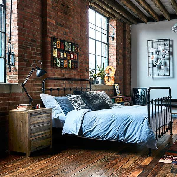 Keeler Metal Bed Frame Vintage Black Industrial Bedroom Design