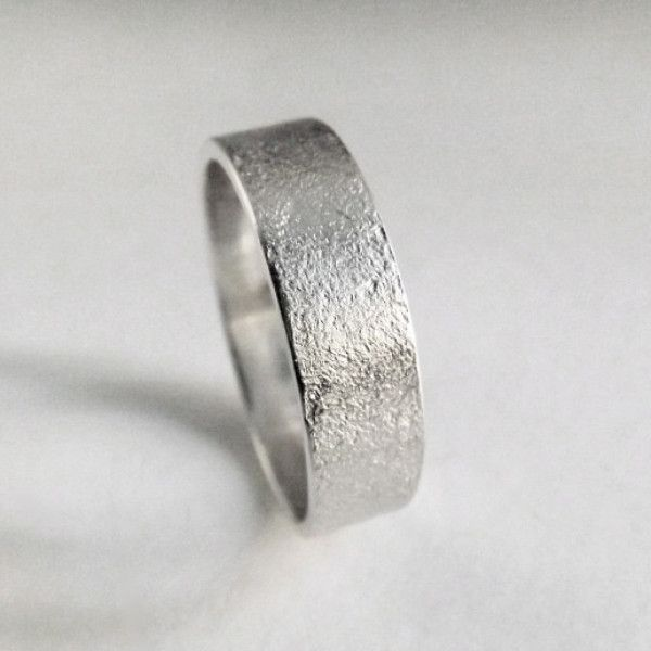 A Handcrafted Silver Wedding Band Made From Argentium With Frosted Texture Unique And Simple Design This Cly Ring