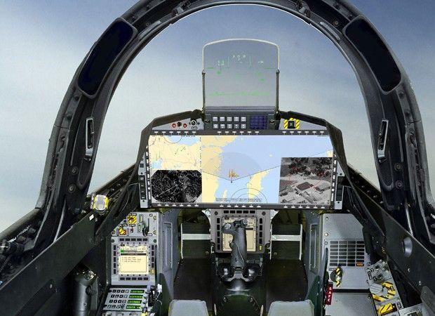 O cockpit exclusivo do Gripen do Brasil, com um display panorâmico e mudanças internas pedidas pela FAB (Foto: Saab)