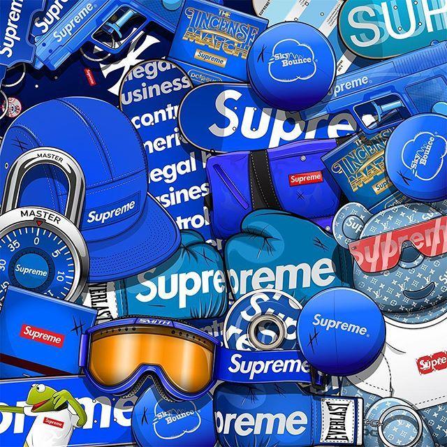 Blue Supreme Iphone Wallpaper Supreme Wallpaper Bape Wallpapers