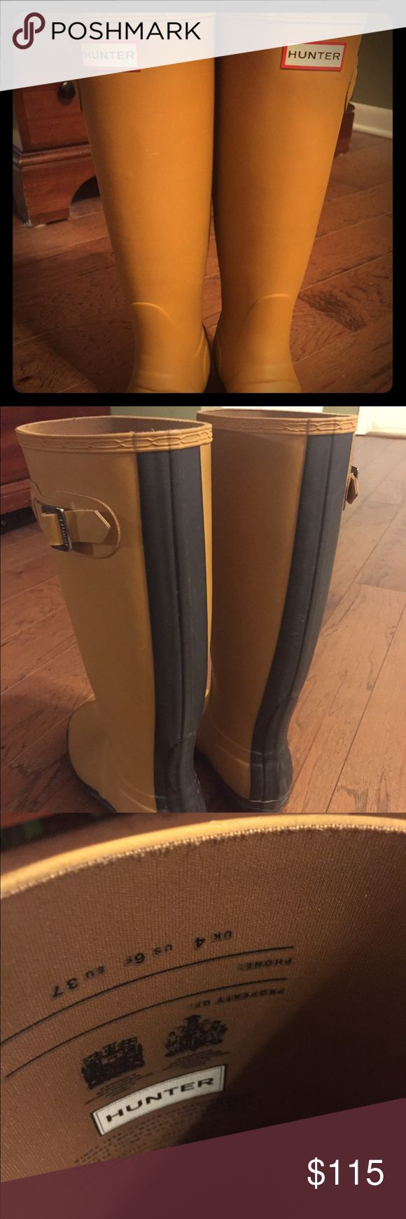 Beige Hunter boots with Black stripe Rare Beige matte Hunter boots with Black stripe Hunter Boots Shoes Winter & Rain Boots
