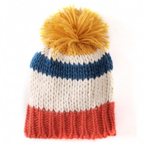 knitted multi stripe hat