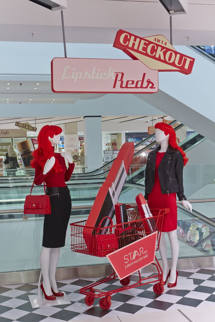"DEBENHAMS, London, England, ""Having a little chit-chat at the Lipstick Reds Checkout"", pinned by Ton van der Veer"