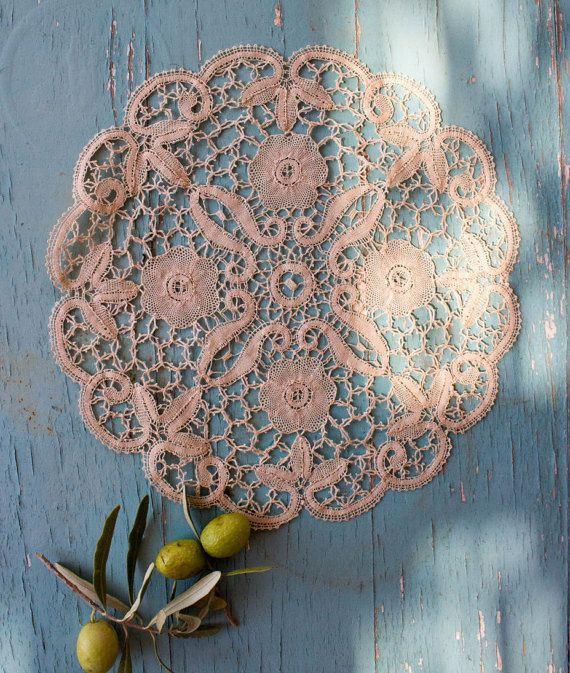 Vintage Lace Doily Handmade Point de Venice by BelladonaVintage