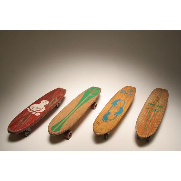 Four Vintage Nash Wooden Skateboard Skate Board 1960s Green Label Natural Wood Goofy