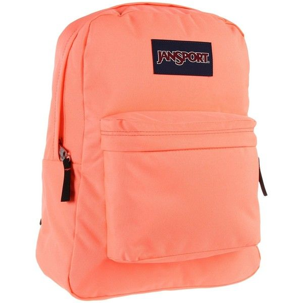JanSport SuperBreak (Coral Peaches) Backpack Bags ($30) ❤ liked on Polyvore featuring bags, backpacks, orange, rucksack bags, jansport daypack, jansport rucksack, padded bag and strap backpack