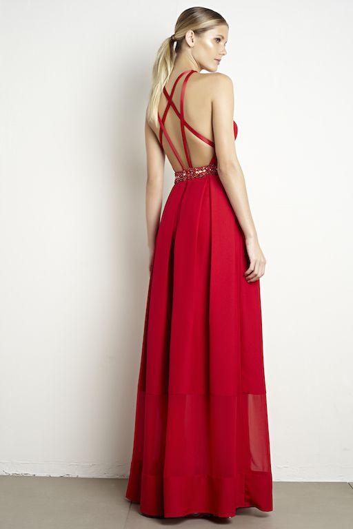 Vestido longo vermelho em crepe com cinto bordado
