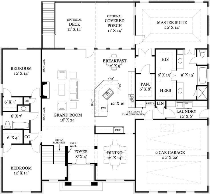 58 best french country house plans images on pinterest for Country ranch house plans with basement
