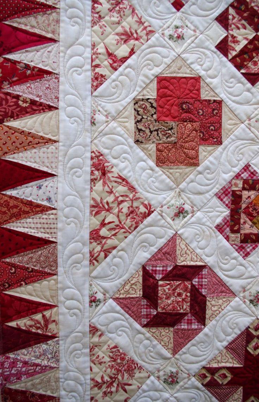 "Border quilting by Karen Terrens.  ""Zutphen""sampler quilt by Jenny."