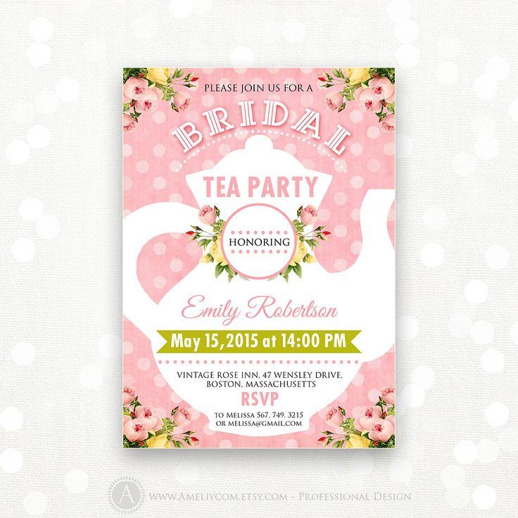Printable Bridal TEA Party, Bridal SHOWER Invitation, Bridal BRUNCH retro pink polka dots Invite Shower the Bride Editable Instant Download