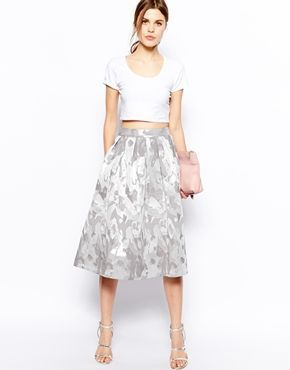 *got it* ASOS Midi Skirt in Camo Jacquard Silver Print with 90s Crop Top