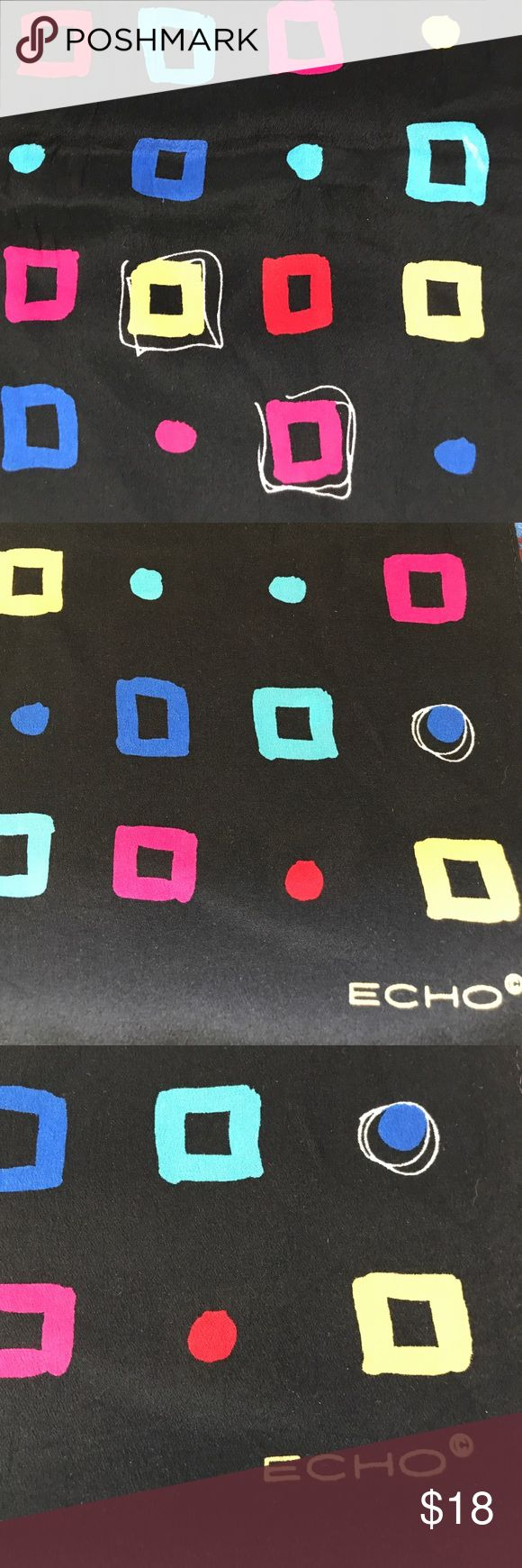 "Vintage Echo silk rectangle scarf Vintage Silk Echo geometric pattern rectangle scarf. Circa 80s . Beautiful brights colors on black. EUC. 56"" length, 15"" wide. Echo Accessories Scarves & Wraps"